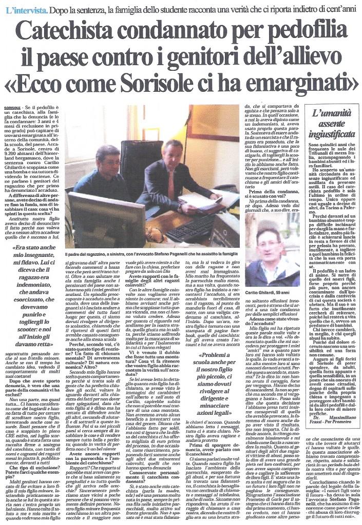 pedofilo catechista Sorisole Carilio Ghilardi