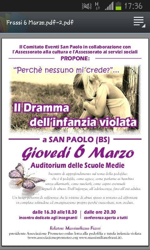 cojnferenza sulla pedofilia a Brescia